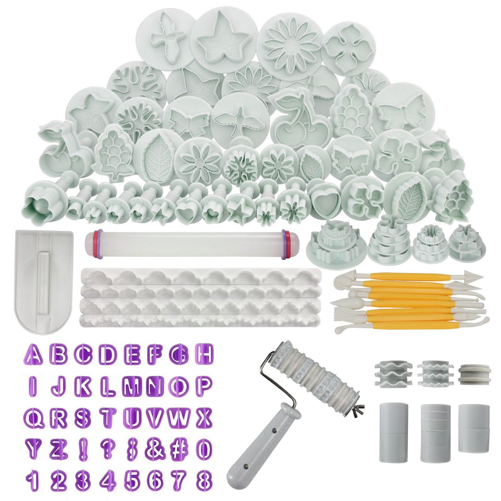 Fondant Cake Decorating Kit 102-count Cutters|Modeling Tools|Roller| Smoother|Alphabet