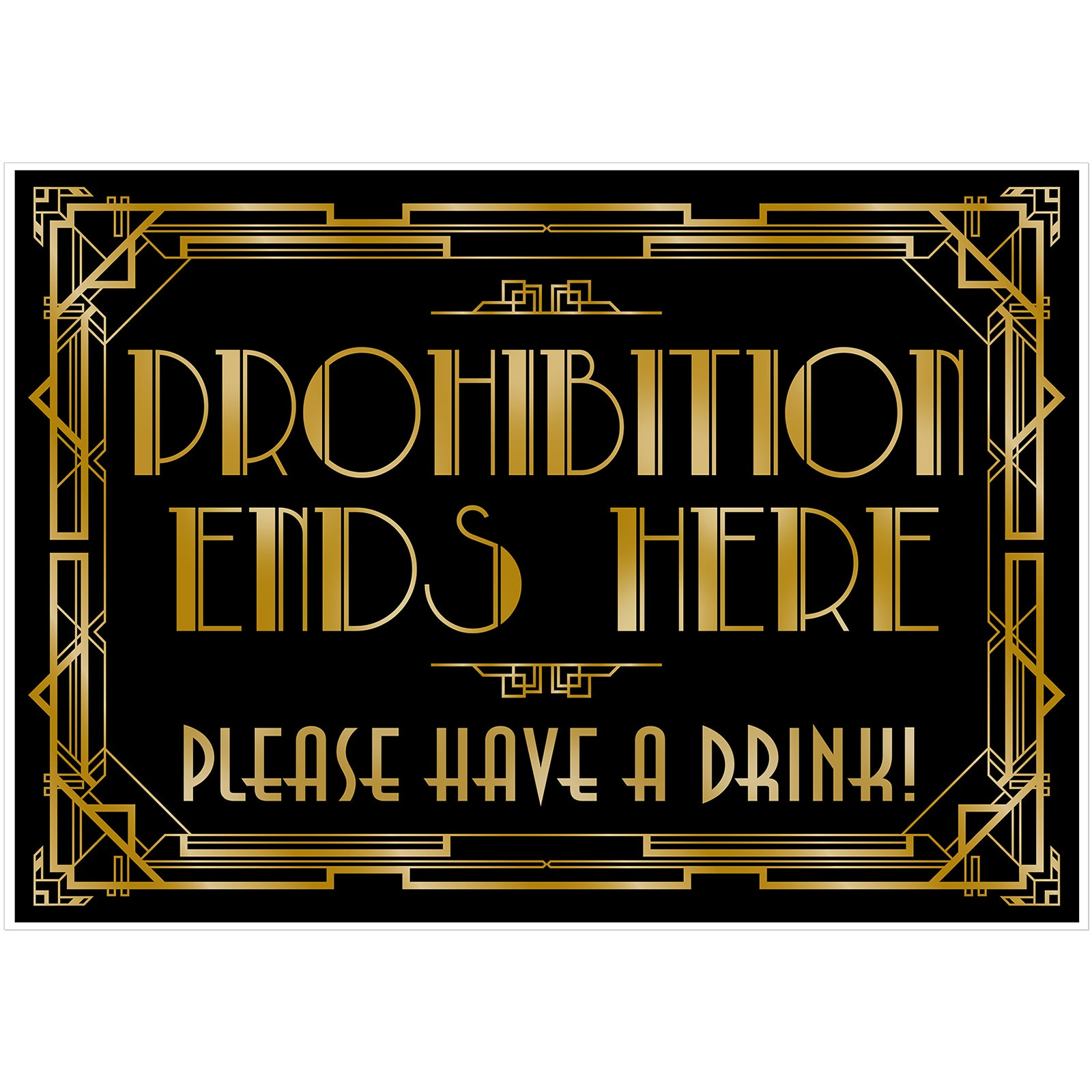 Roaring 20s Art Deco Poster|Prohibition Ends Here|16x12inch A3