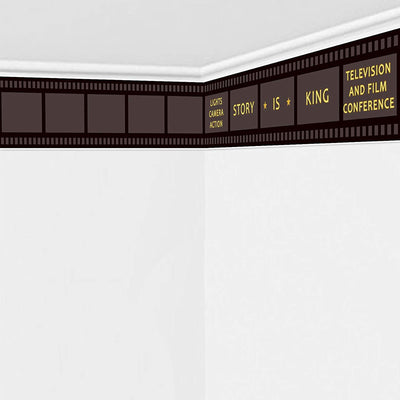 Story is King Prepasted Filmstrip Movie Night Party Wall Mural 59.8x11.8inch