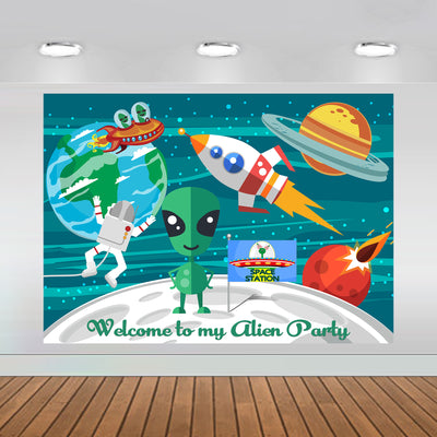 Outer Space Alian Party Backdrop 7x5 feet