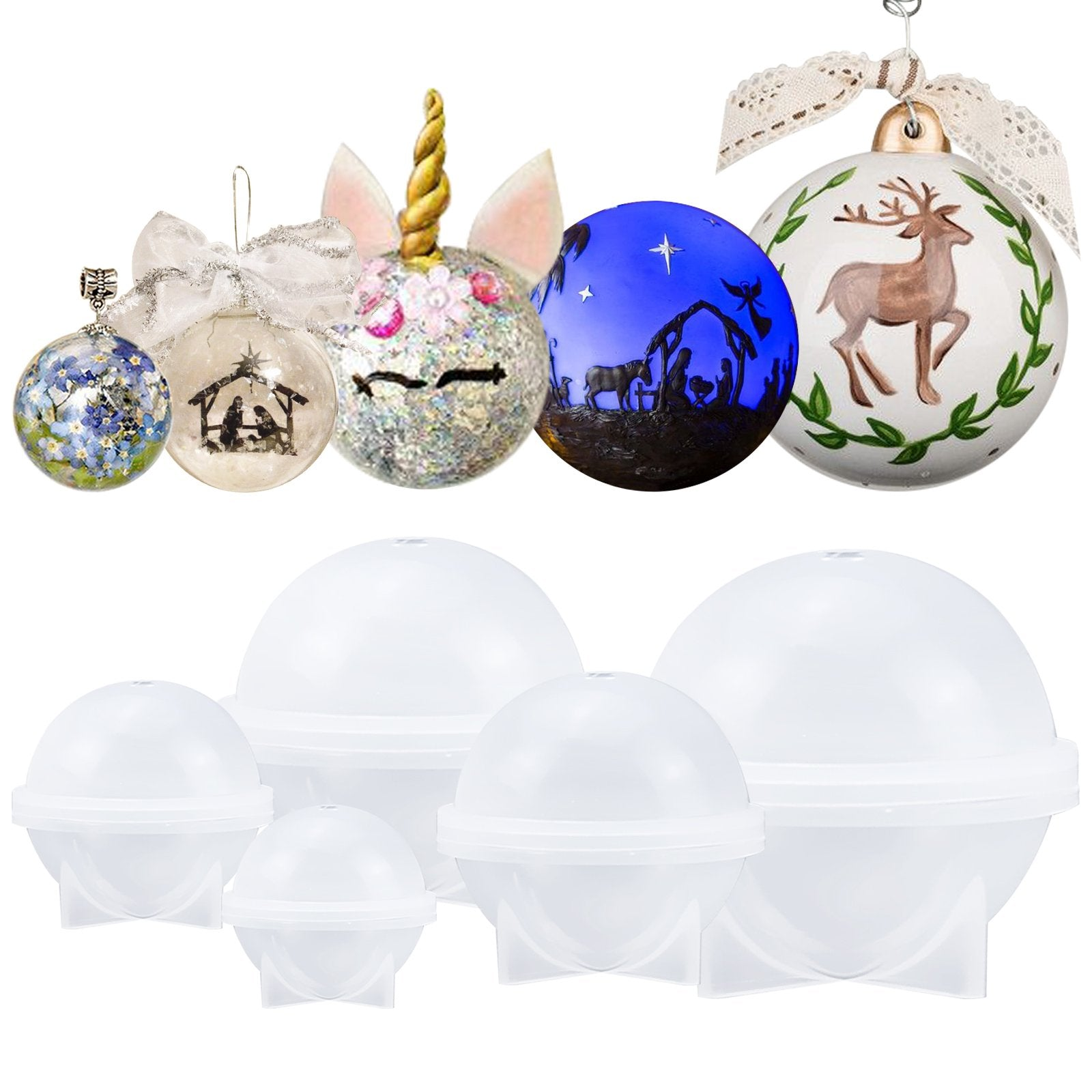 5 Sets DIY Sphere Ball Ornaments Silicone Mold Jewelry Making Resin Mould
