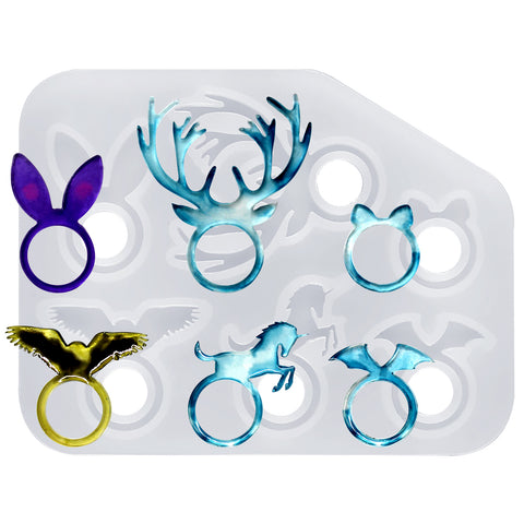 Kawaii Animal Stacking Ring Silicone Mold 16mm