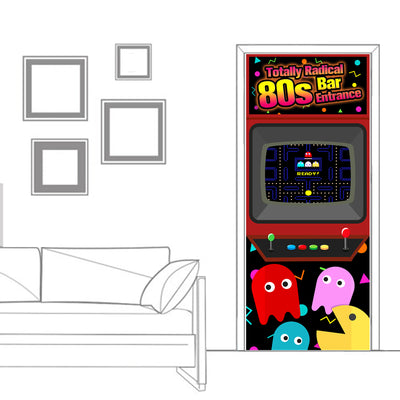 Totally Radical 80's Bar Entrance Door Cover 72x30 inch
