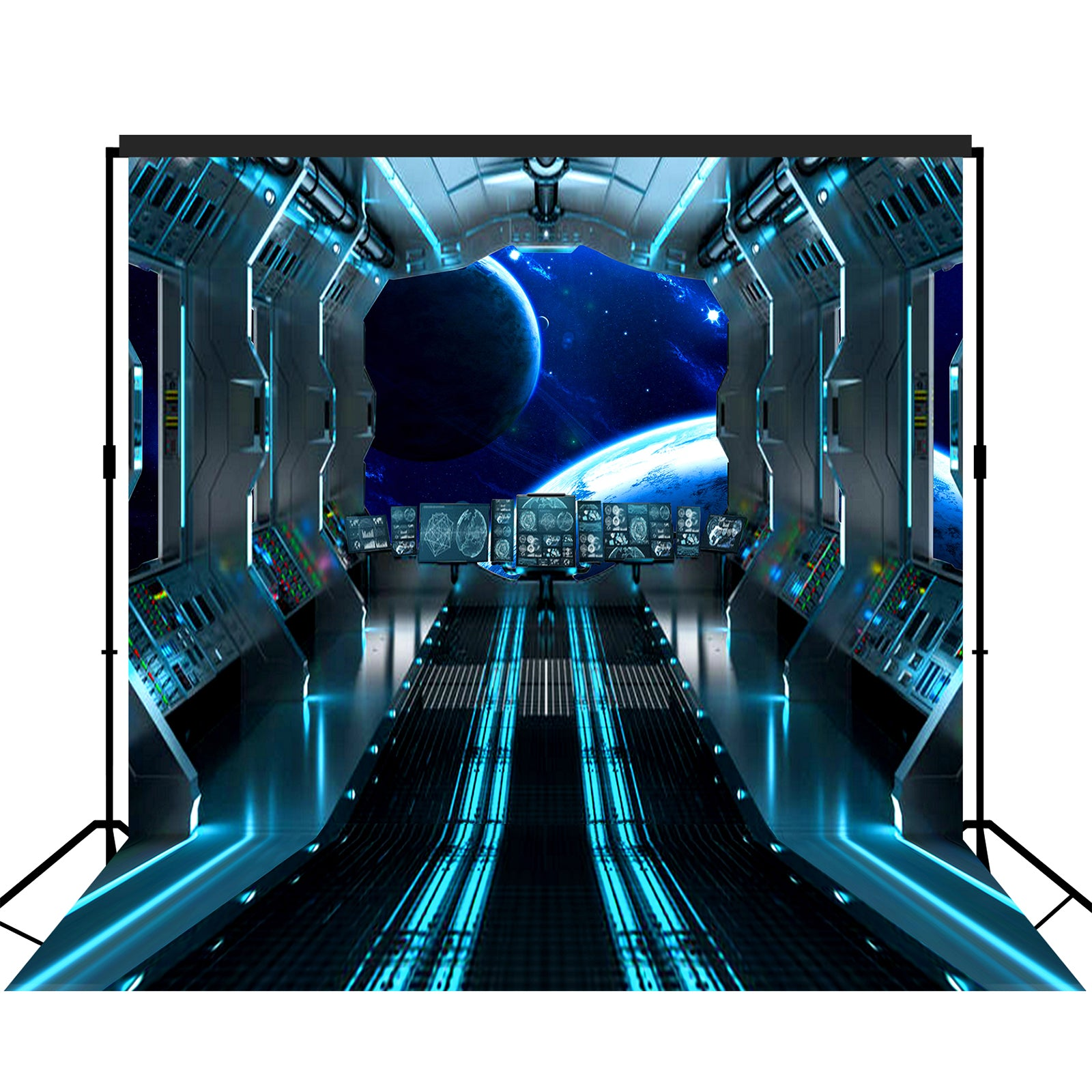 Futuristic Hallway Aboard Spaceship Backdrop Large 10x10 feet