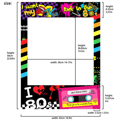 I love 80s Photo Booth Frame I Want My MTV 23x17inch