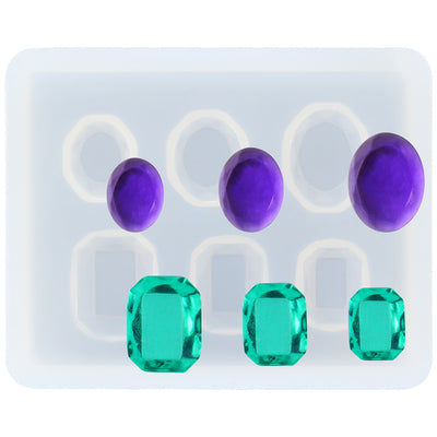 Oval and Emerald Diamond Resin Silicone Mold Mini