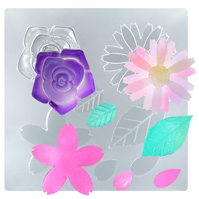 Flower and Leaf Resin Silicone Mold 4x4inch