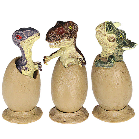 Crack Eggs Triceratops T. rex Giganotosaurus Figures Height 2-inch