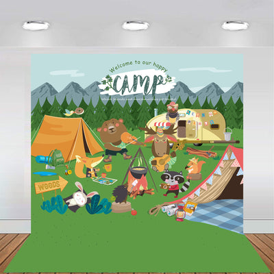 Woodland Animal Camping Backdrop 7x7 feet