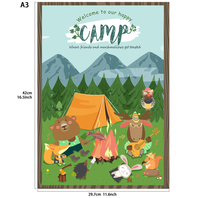 Woodland Camp Welcome Poster A3 16.5x11.8inch