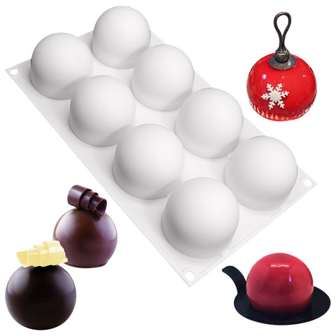 Truffles Chocolate Globe Sphere Silicone Mold 8 Cavity