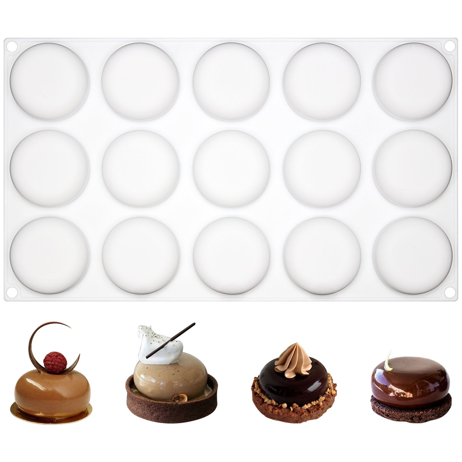 Curved Round Stone Silicone Mold Tray 15 Cavity 1.8x1.8x0.7inch