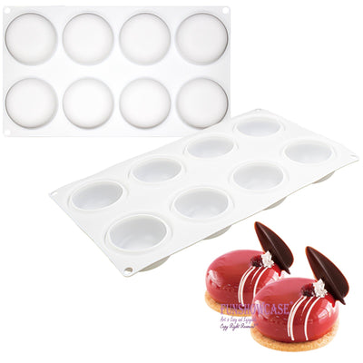 Curved Round Stone Silicone Mold Tray 8 Cavity 2.4x2.4x1.1inch