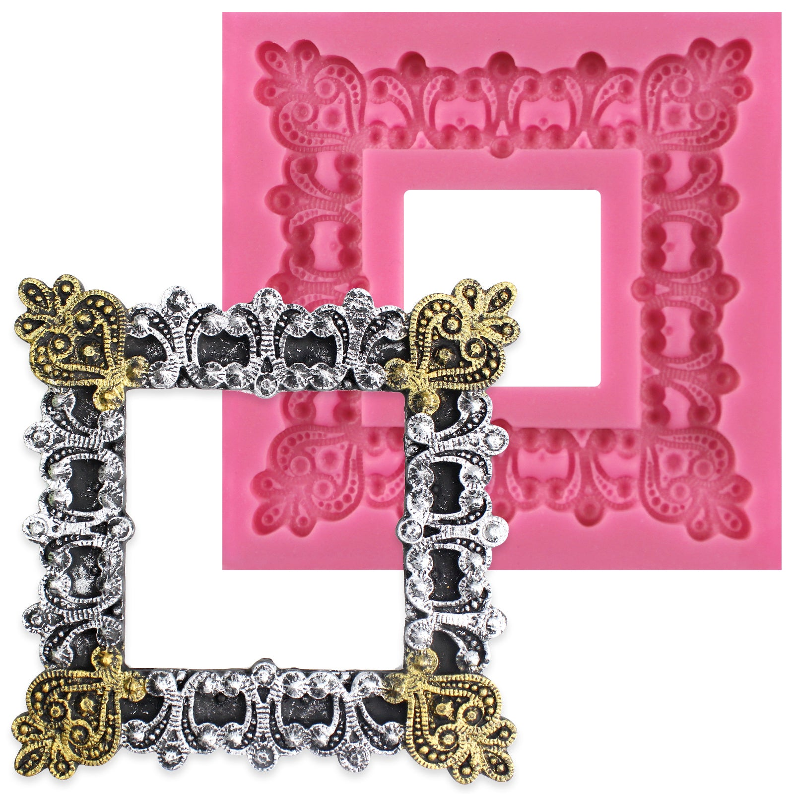 3-inch Vintage Square Frame Silicone Mold