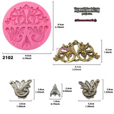 Floral Medallion Flourish Scrollwork Frame Silicone Molds 4-Count