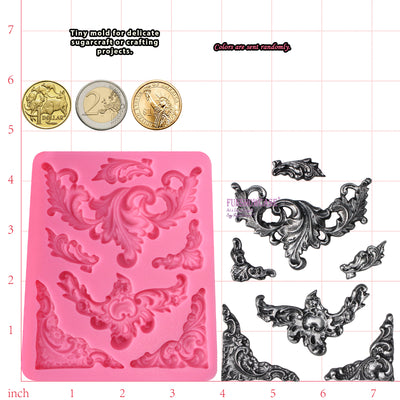 Flourish Scroll Lace Fondant Silicone Mold