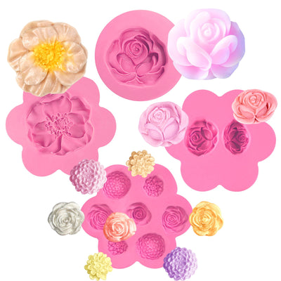 Assorted Flower Silicone Molds 4 Count