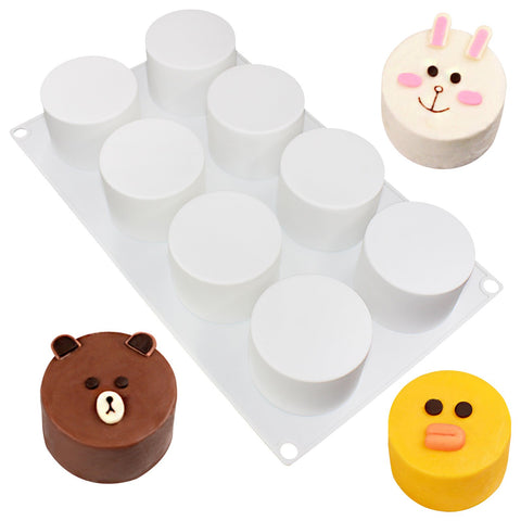 Cylinder Dessert Silicone Mold Tray 8 Cavity 2.4x2.4x1.8inch