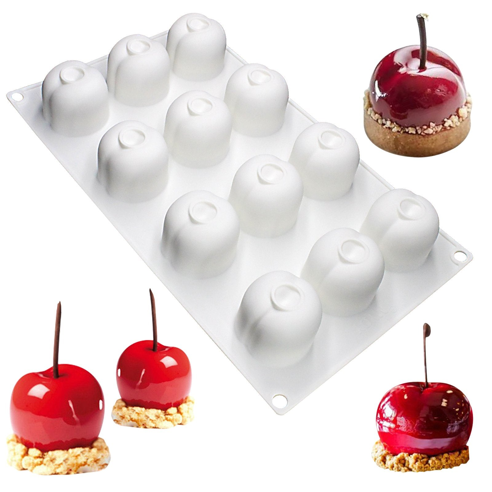 Glaze Cake Mousse Cherry Silicone Mold Tray 1.7x1.7x1.4inch