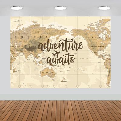 Adventure Awaits Map Backdrop 7x5 feet