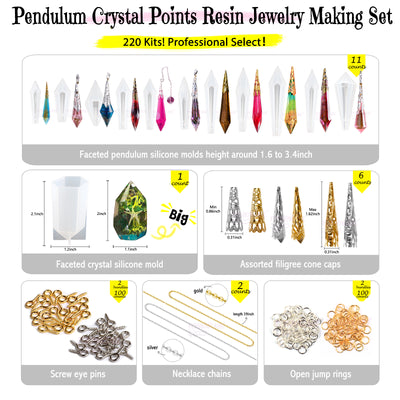 Pendulum Crystal Point Resin Silicone Molds Set Jewelry Casting 220-Kit