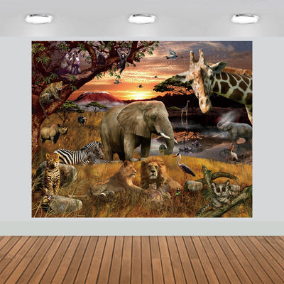 Tropical African Forest Jungle Backdrop Sunset Elephant Giraffe 7x6feet