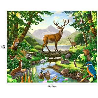 Woods Animals Deer by Lake Backdrop 7x6feet