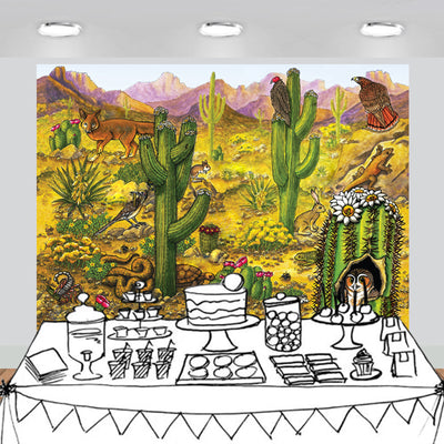 Desert Animals Cactus Scenic Backdrop 7x6feet