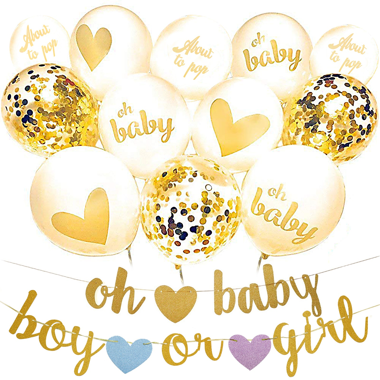 Oh Baby Balloon Banner Set Gender Reveal Decorations