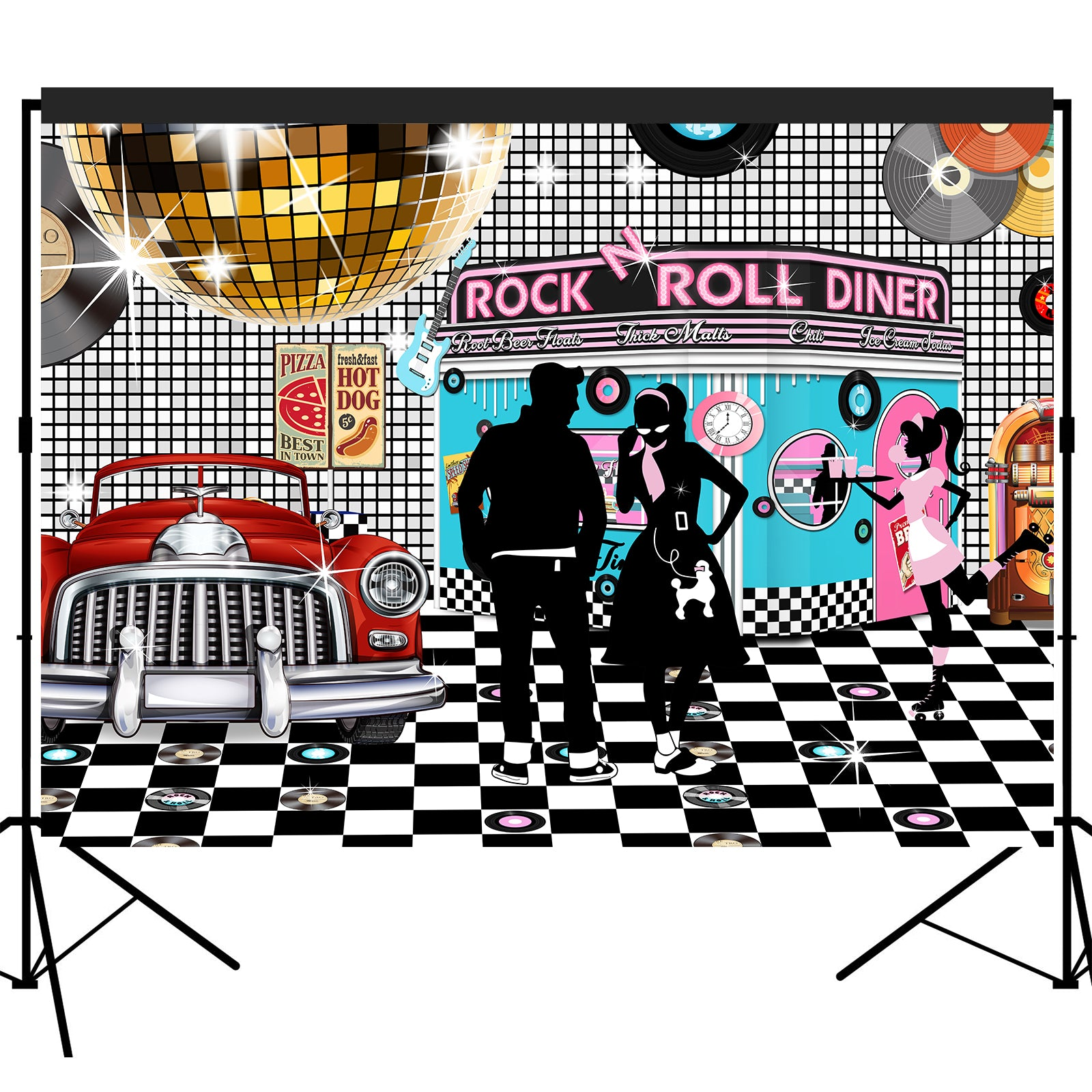 50s Sock Hop Dinner Backdrop 7x5feet