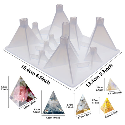 Triangular Pyramid Geometric Resin Silicone Molds 11-Cavity