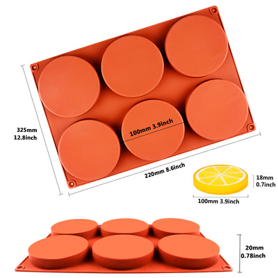 Round Disc Baking Silicone Mold 6-Cavity 3.9inch