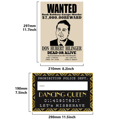 Roaring 20s Mug Shot Photo Booth Props|Height Chart Backdrop|Wanted Sign Posters 26-Count