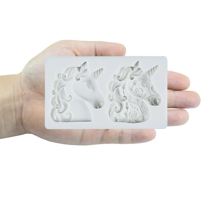 Rainbow Unicorn with Rose Fondant Silicone Mold