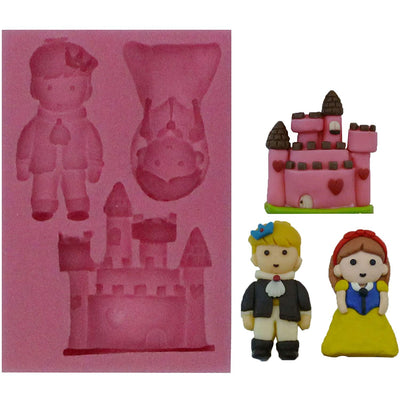 Prince and Princess with Castle Fondant Silicone Mold