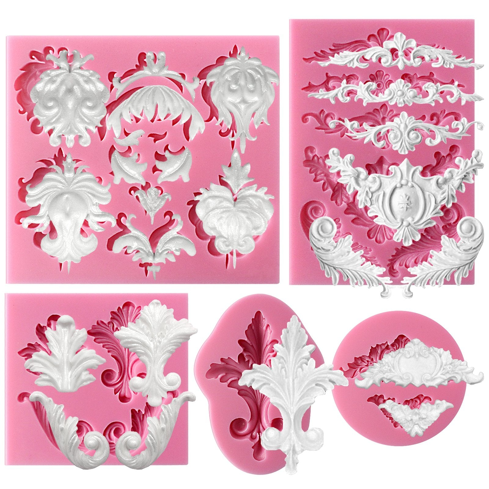Baroque Scroll and Lace Silicone Molds 5-Count