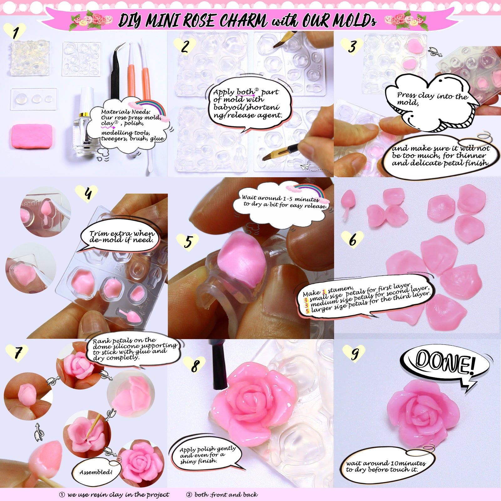 Wax Handmade Candle Cactus Flower Resin Casting Molds for Cake Decorating Pendolr 6 Pack Succulent Silicone Mold Epoxy Resin Polymer Clay Fondant etc