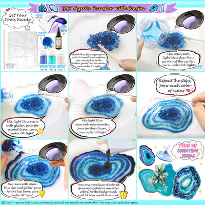Geode Agate Coaster Silicone Resin Molds 5-count 11 Shapes Assortment 1.4inch-5.2inch