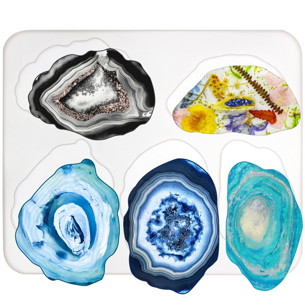 Agate Coaster Silicone Resin Mold, 5-cavity 2.8-5.2inch