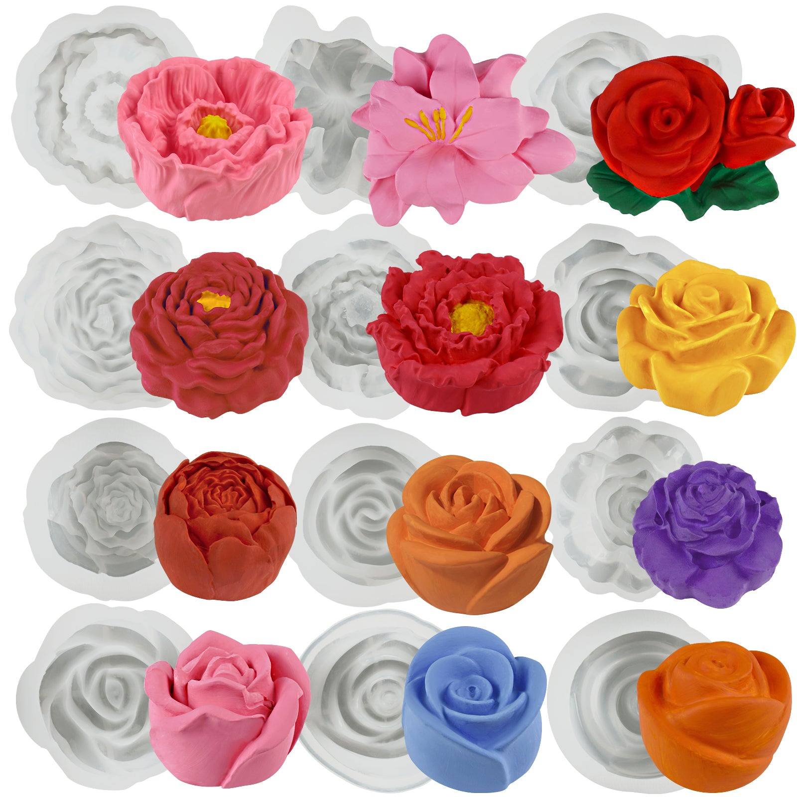 Large Flowers Silicone Molds Set 12-Count Height 0.9-1.7inch