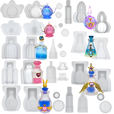 3D Perfume Bottle & Teapots Resin Silicone Molds Set 8-count