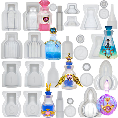 Perfume Bottle Container & Stopper Resin Silicone Molds Set 6-count