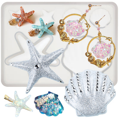 Assorted Seashell and Starfish Resin Pendant Silicone Mold
