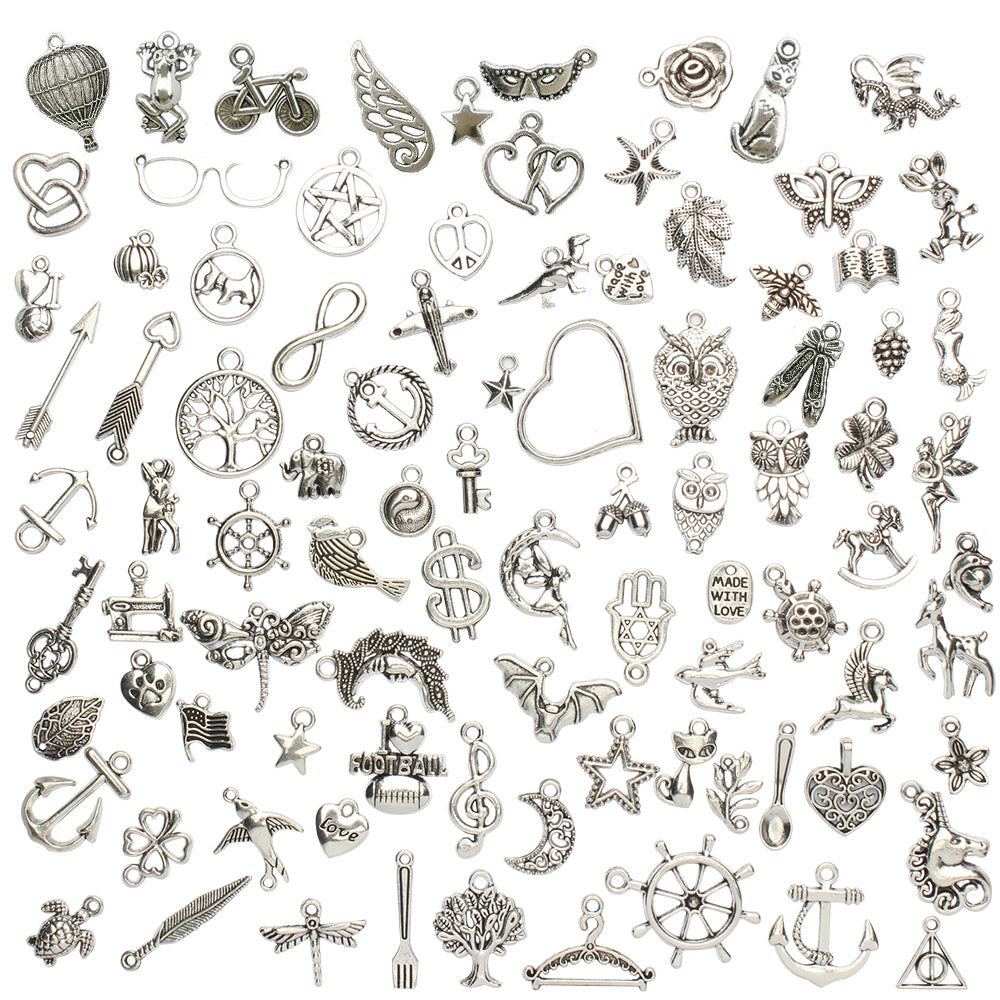 Tibetan Silver Metal Charms 100-count