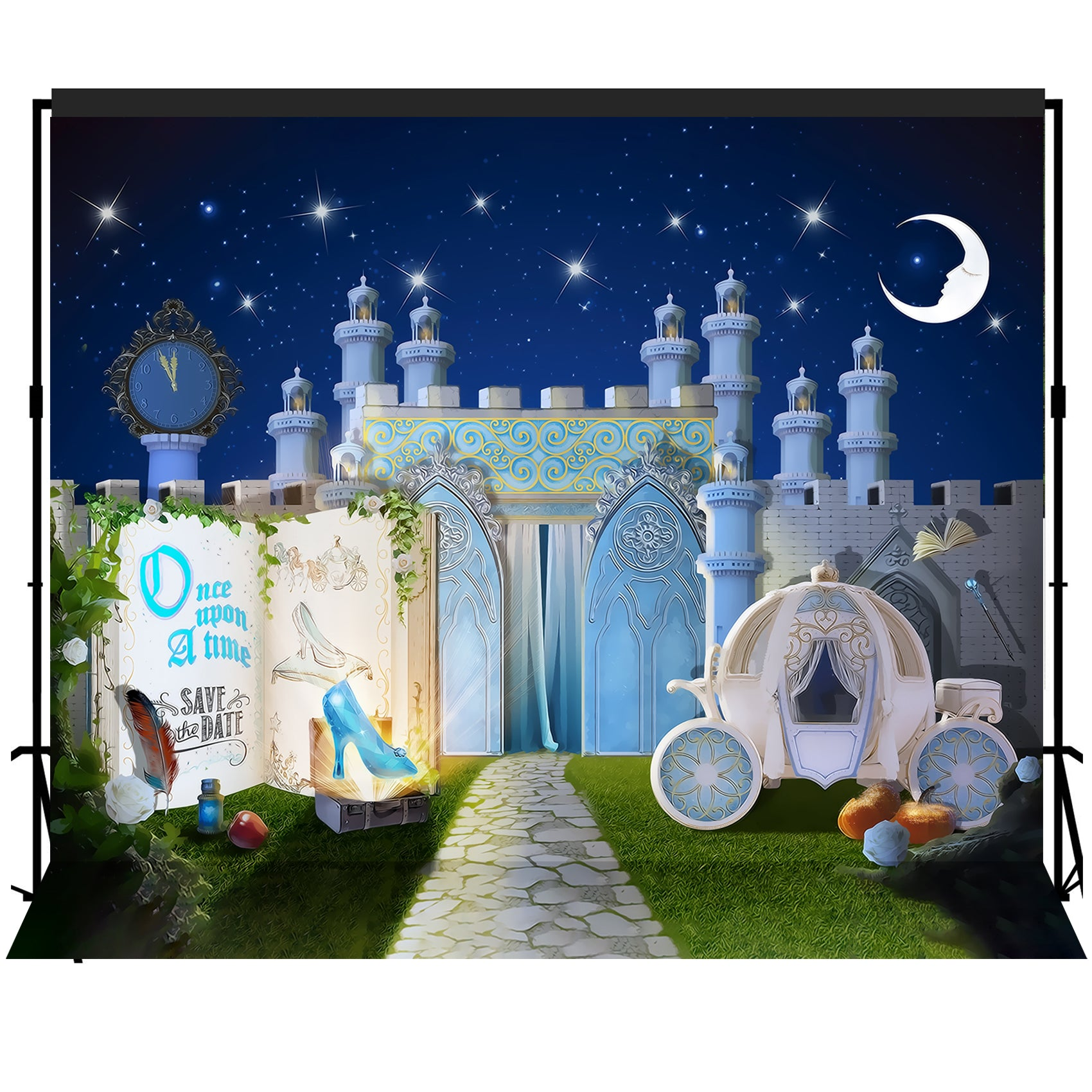 Fairytale Storybook Princess Castle Dreamy Night Backdrop