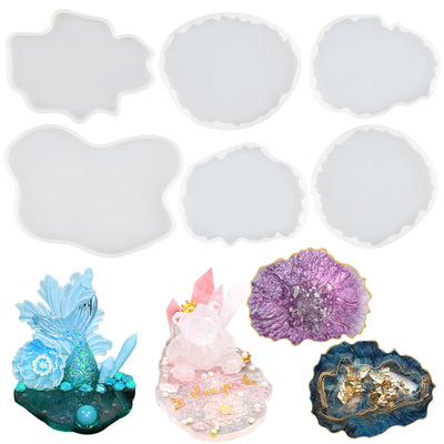 Geode Agate Coaster Epoxy Resin Silicone Molds Set 6-count 4.9-6.8inch