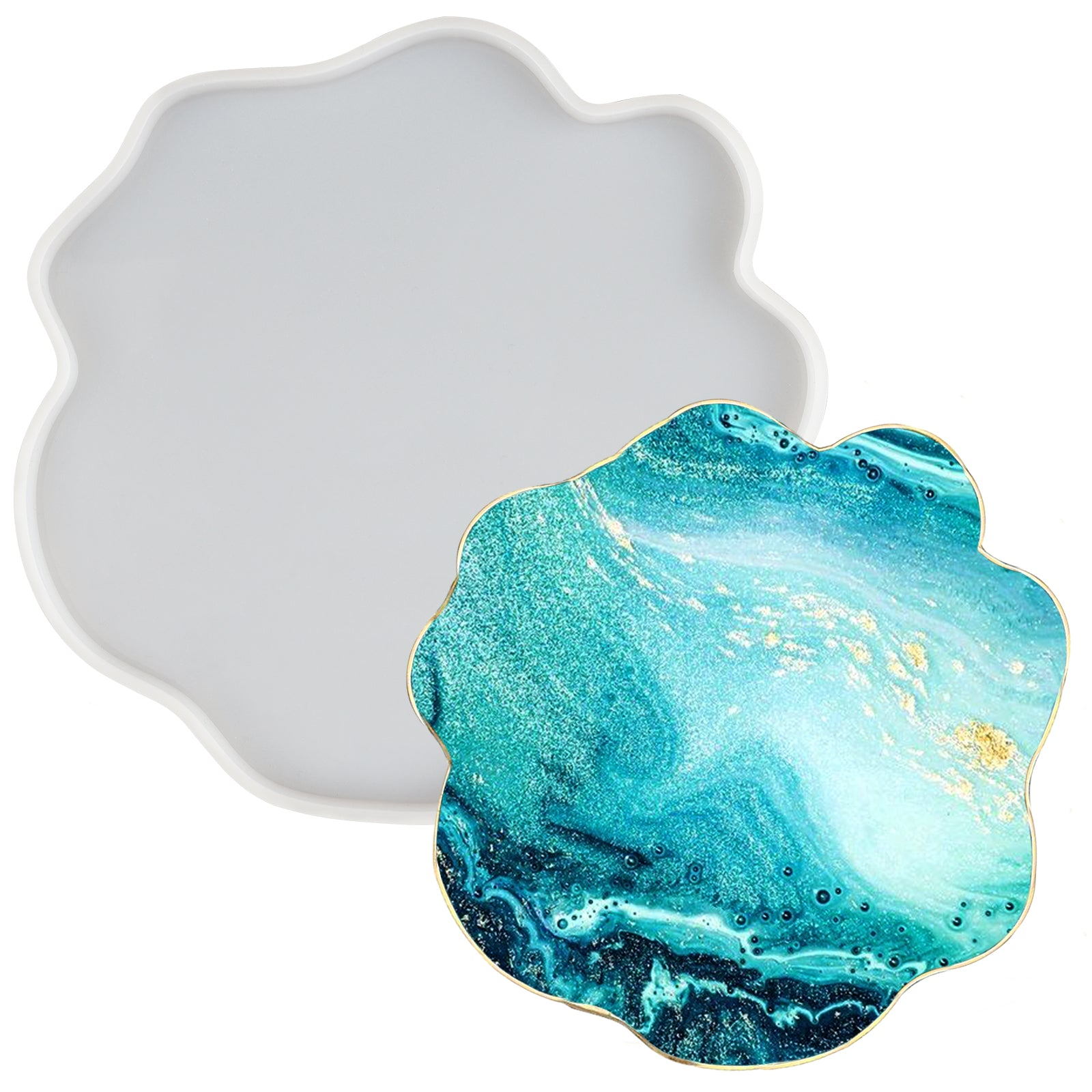 Geode Agate Coaster Epoxy Resin Silicone Molds Set Jewelry Casting Polymer Clay Craft Soap Concrete Cement Extra Large 7.9x6.9inch