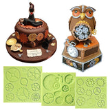 Steampunk Gear Fondant Silicone Mold Set 3 in Set