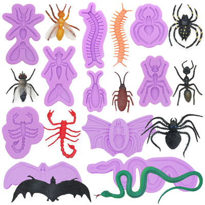 Scary Prank Fondant Silicone Molds Set 10-count Insects|Bat|Snake