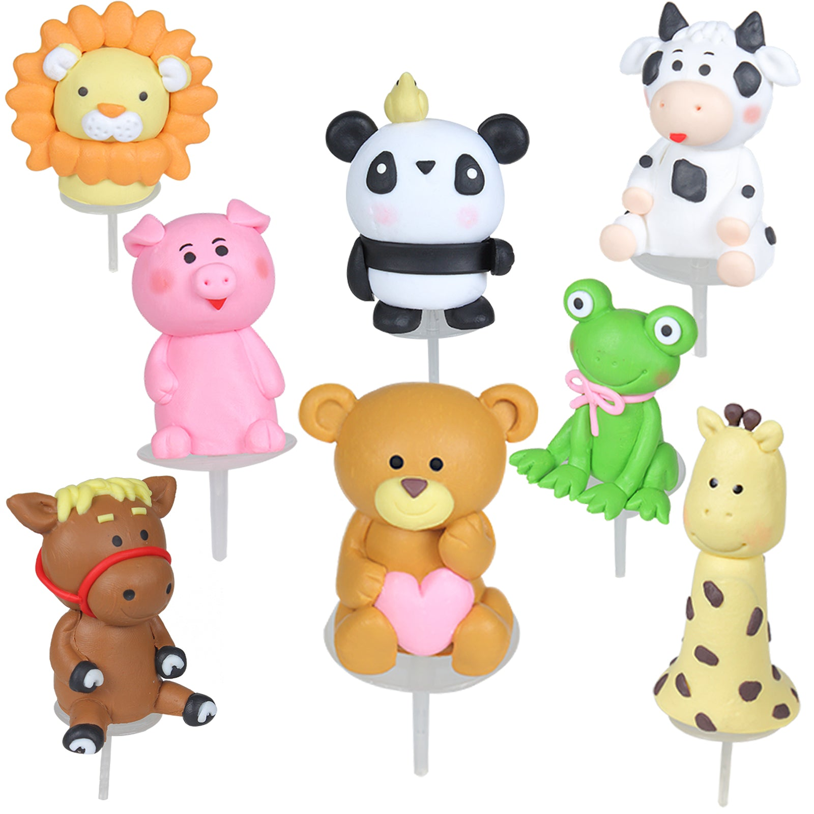 Farm and Zoo Animal Cake Toppers Set 8-Count 1.7-2.7inch